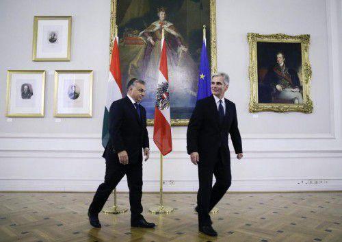 Unterkühltes Verhältnis: Orban (l.) und Faymann.