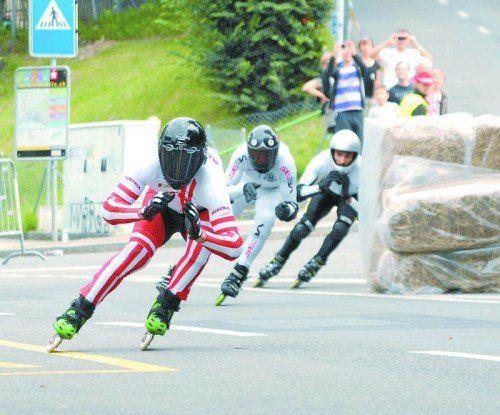 Weltmeister Daniel Ladurner (Vordergrund) entschied beim Weltcup in Gaal den Downhill- und den Crossbewerb für sich.