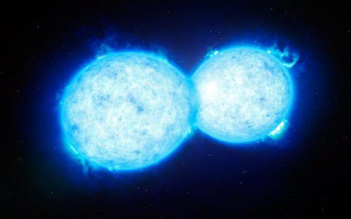 Den Forschern zufolge verschmelzen die Sterne entweder zu einer Riesensonne oder explodieren einzeln in einer Supernova, wobei jeweils ein Schwarzes Loch zurückbliebe.