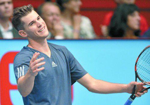 Dominic Thiem war mit seiner Leistung nicht zufrieden: den ersten Satz gewonnen, aber Jerzy Janowicz unterlegen.