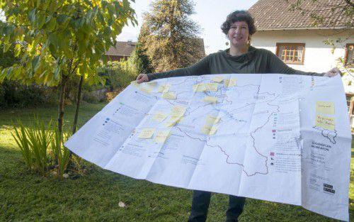 Landschaftsplanerin Gudrun Sturn hat die Ergebnisse auf einem Plan festgeschrieben.