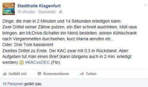 Was man in 2:14 Minuten so alles tun kann: die Bulldogs machten in dieser Zeitspanne in Klagenfurt drei Tore.