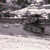 Rheinbrücke in Bangs zerstört