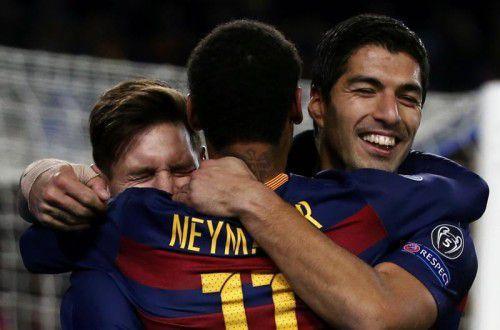 Das Trio Infernale des FC Barcelona, v. l.: Lionel Messi, Neymar und Luis Suárez.