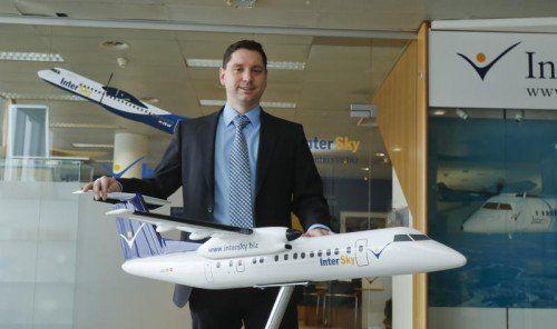 Der InterSky-Geschäftsführer am Firmensitz in Bregenz. Dieser soll auch unter dem neuen Eigentümer bleiben.