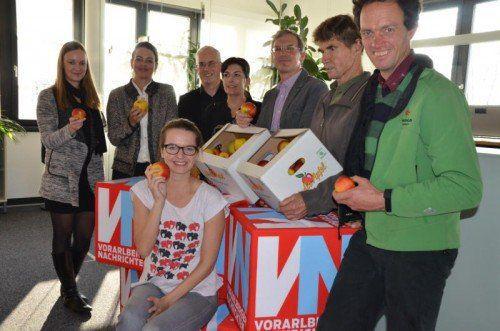 Eine Abordnung von Vertretern der Vorarlberger Landwirtschaftskammer und Obstbauern stattete der VN-Redaktion einen Besuch ab.