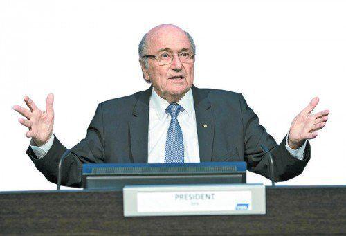Symptomatische Geste von Joseph S. Blatter.