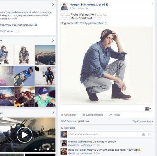 Auch auf Facebook weist Gregor Schlierenzauer auf seinen Blog hin.