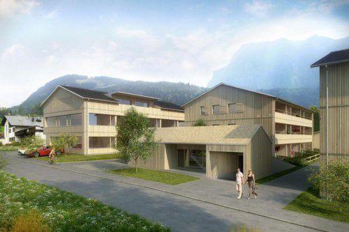Die Gebäude werden allesamt in Holzbauweise errichtet.