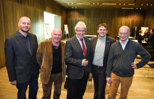 Die Kulturhauptstadtbeauftragten Martin Hölblinger, Roland Jörg, Oliver Scheytt, Christoph Thoma und Harald Petermichl.