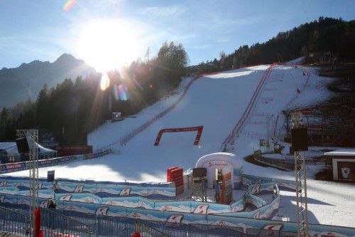 Die Piste ist perfekt präpariert und bereit für die ersten Skiweltcuprennen nach der Weihnachtspause.
