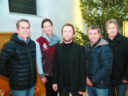 Direktor Helmut Abl mit den Musikpädagogen Sigrun Bertel, Anton Brugger, Manfred Netzer und Gerhard Ganahl.