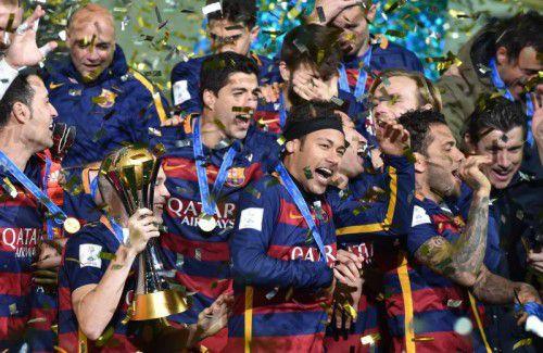 Grenzenlos war der Jubel bei den Spielern des FC Barcelona nach dem Gewinn der Klub-WM.