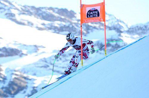 """Hannes Reichelt setzte die erste Bestzeit auf der """"Deborah-Compagnoni""""-Strecke in den Schnee."""