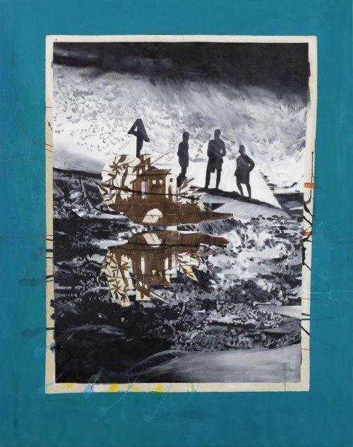 """Helga Schmidhuber aus der Serie """"Wenig Zeit zwischen zwei Fingern"""" (li. Bild) und Andreas Plum mit """"The Bleach"""", 2009, Öl und Papier auf Leinwand."""
