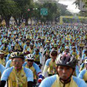 Thailänder feiern ihren König auf Drahteseln