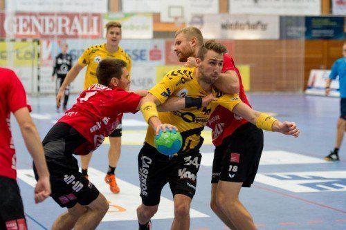 Tobias Warvne und Co. fanden beim Gastspiel in Schwaz nie wirklich ins Spiel und mussten sich verdient mit 26:34 geschlagen geben.