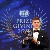 Verstappen mit drei Preisen bei FIA-Wahl