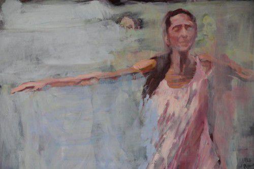 Aspekte des Tanzes werden in zwischen Figuration und Abstraktion angesiedelte Malerei übertragen.