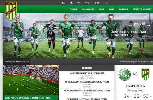 Die runderneuerte Homepage.