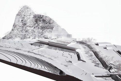 Die Wälderhalle soll auf einer künstlichen Uferanlage in der Bregenzerach errichtet werden.