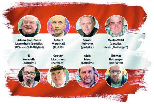 Eine zufällige Auswahl von Kandidaten für einen Platz auf dem Stimmzettel am 24. April.