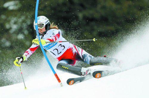 Katharina Liensberger kurvt heute in Flachau erstmals im Weltcup durch die Slalomtore.