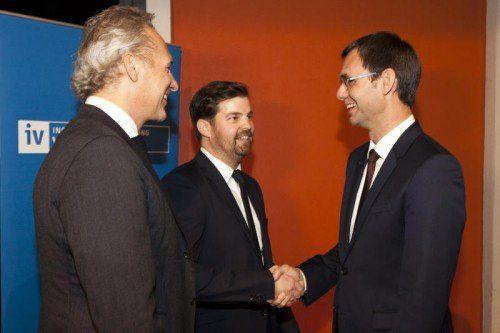 LH Markus Wallner am Montagabend beim IV-Empfang mit Martin Ohneberg und Mathias Burtscher.