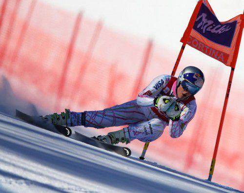 Lindsey Vonn fand schon im ersten Abfahrtstraining in Cortina die schnellste Linie.