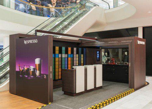 Neben der Rolltreppe wird der Nespresso-Shop nun fix im Dornbirner Messepark eingerichtet.