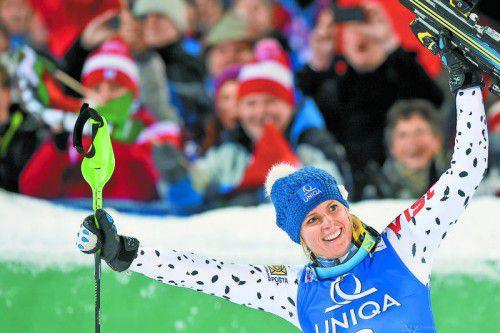 Sieg in Flachau und ein fetter Scheck: Veronika Velez Zuzulova ist erleichtert.