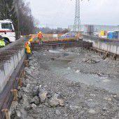 Brückenbau in Röthis im Plan