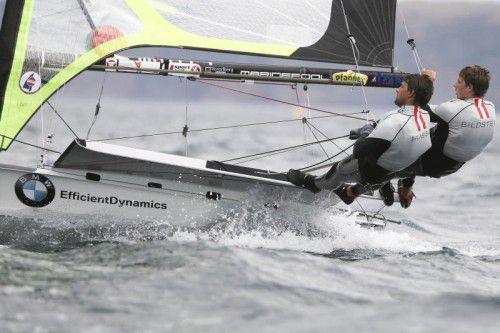 Nach dem 34. Endrang beim WM-Debüt 2015 wollen Benjamin Bildstein (l.) und David Hussl in Clearwater das Gold-Fleet erreichen.