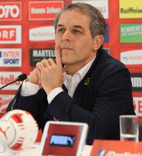 Stellte sich nach dem Türkei-Spiel den Fragen der Journalisten und freut sich auf das nächste Teamcamp: ÖFB-Teamchef Marcel Koller.
