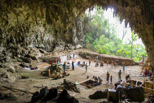 Bei Ausgrabungsarbeiten in der Liang-Bua-Höhle auf Flores wurden 2003 die Überreste von Individuen des Homo floresiensis entdeckt.