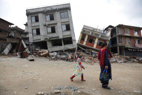 In Nepals Hauptstadt Kathmandu wurden durch das Erdbeben im April 2015 zahlreiche Häuser zerstört.