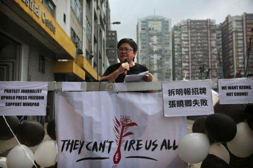 Demonstration in Hongkong, wo die Pressefreiheit durch den Druck aus Peking stirbt.