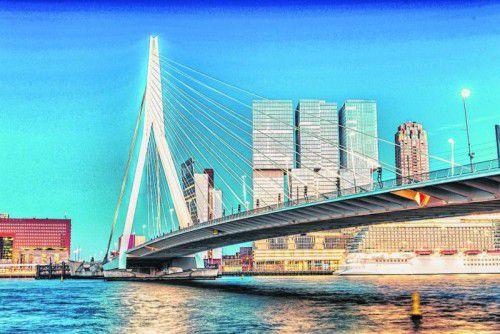 Die 800 Meter lange Erasmusbrücke führt über die Maas.