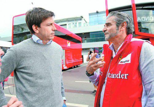 Diskussion um die Zukunft: Mercedes-Sportchef Toto Wolff und Ferrari-Pendant Maurizio Arrivabene.
