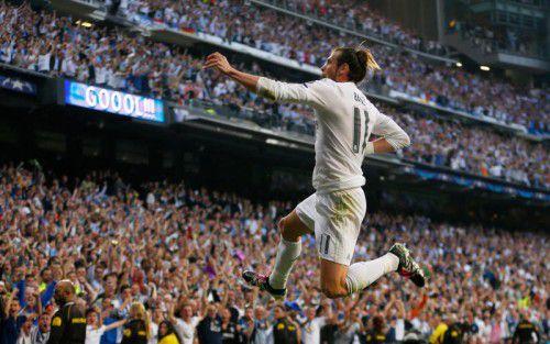 """Ein Geniestreich von Gareth Bale, im Bild beim Torjubel, sicherte den """"Königlichen"""" aus Madrid den 1:0-Sieg und Finaleinzug."""