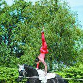 Akrobatik auf dem Rücken der Pferde