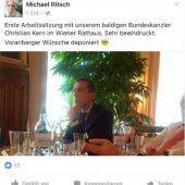 Erlag dem Charme des neuen Chefs: Ritsch postet aus erster Arbeitssitzung mit Christian Kern.