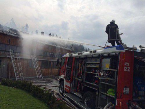 Insgesamt vier Bregenzerwälder Feuerwehren standen im Einsatz.