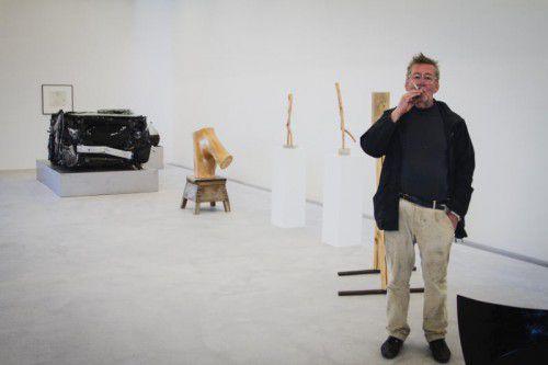 Künstler Gottfried Bechtold breitet sich auf rund 200 Quadratmetern Ausstellungsfläche aus.