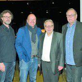Musik von Walter Schuler (l.) und Bernie Weber, Organisator Hansjörg Ellensohn und Initiator Ulrich Gabriel.