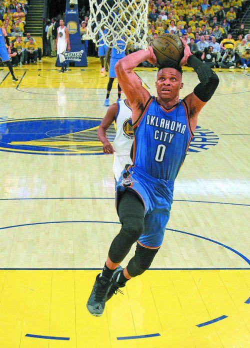 Oklahoma-Star Russell Westbrook warf 27 Punkte.