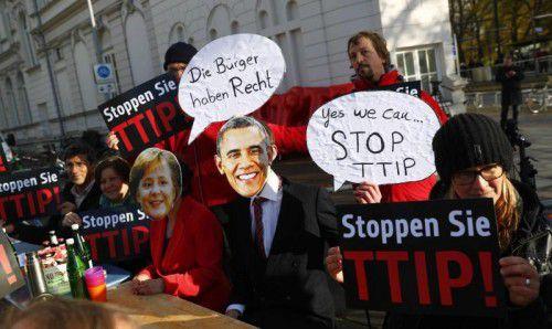 Tausende protestierten im Rahmen des Obama-Besuchs gegen das TTIP-Abkommen.