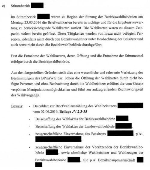 Auszug aus der Anfechtungsschrift der FPÖ zum Stimmbezirk Bregenz.