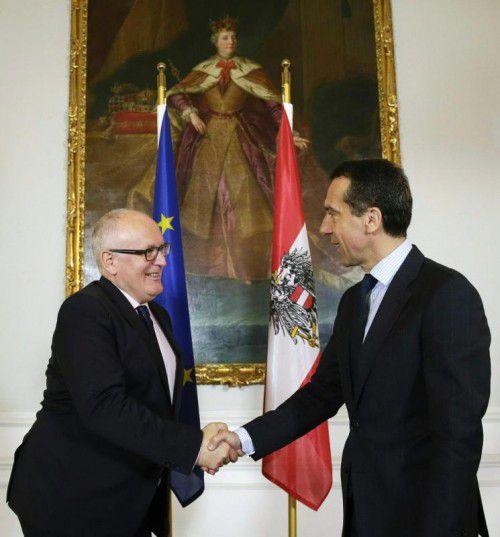 Der Kommissionsvize war zu Besuch im Kanzleramt.