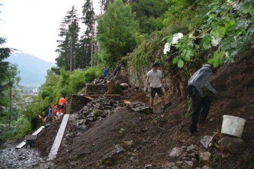 Ein Abschnitt am oberen Ende der Vanovagasse wurde von den Studenten sorgsam saniert.